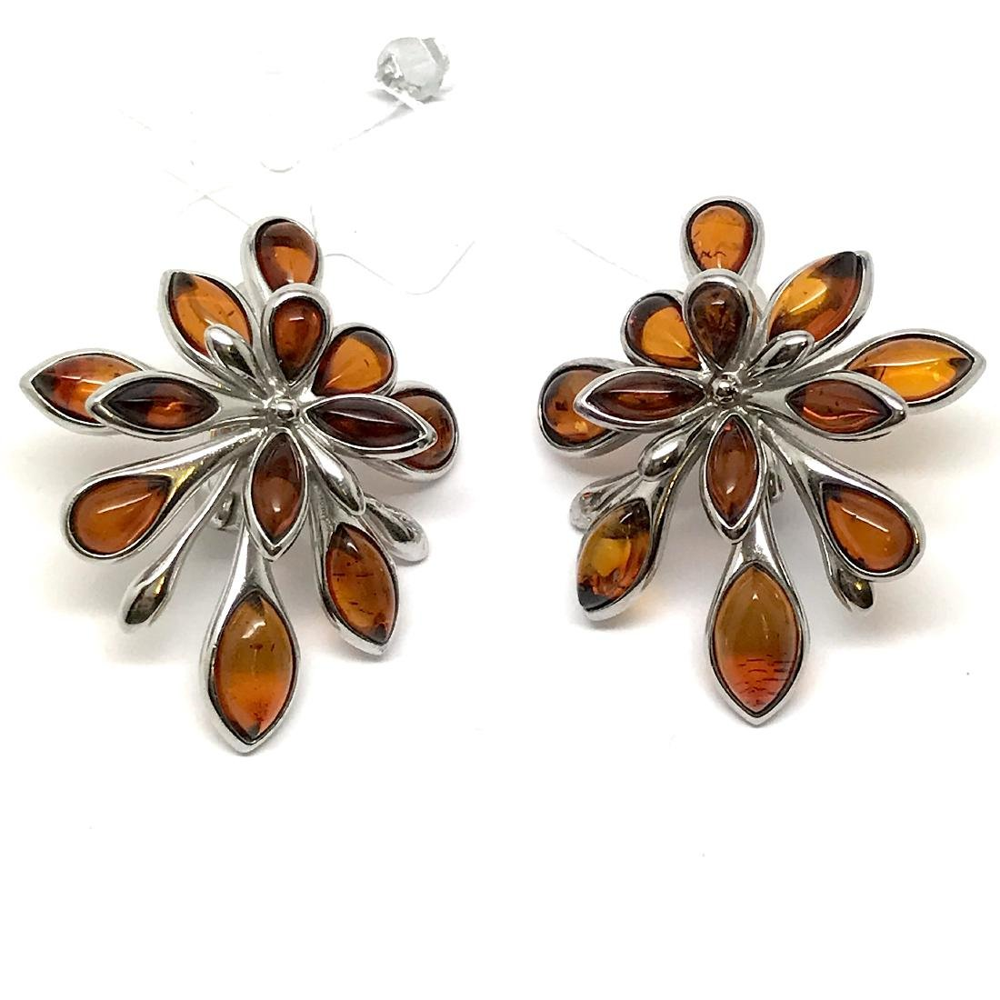 Baltic Amber Silver Earrings Cognac Colour - 8