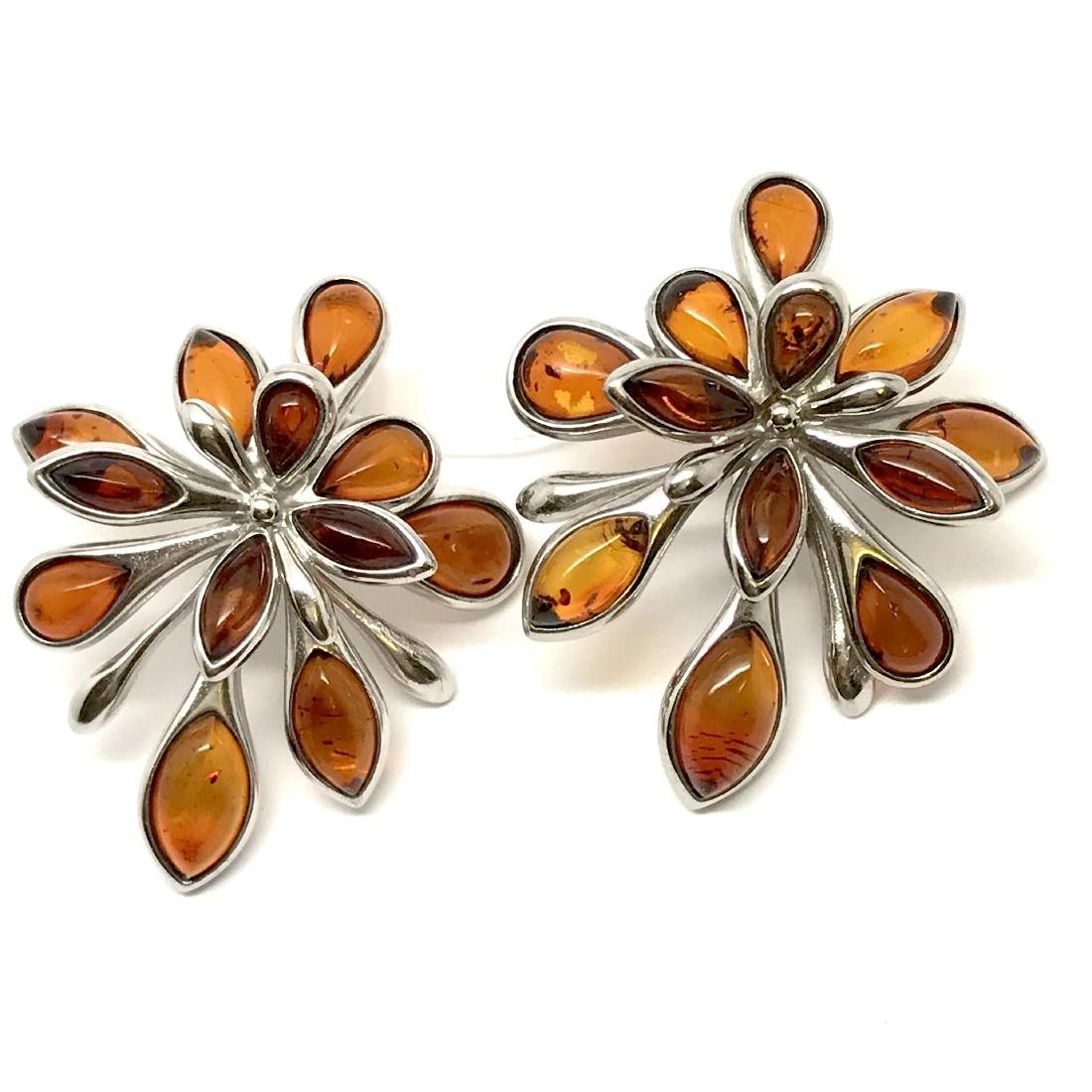 Baltic Amber Silver Earrings Cognac Colour - 9