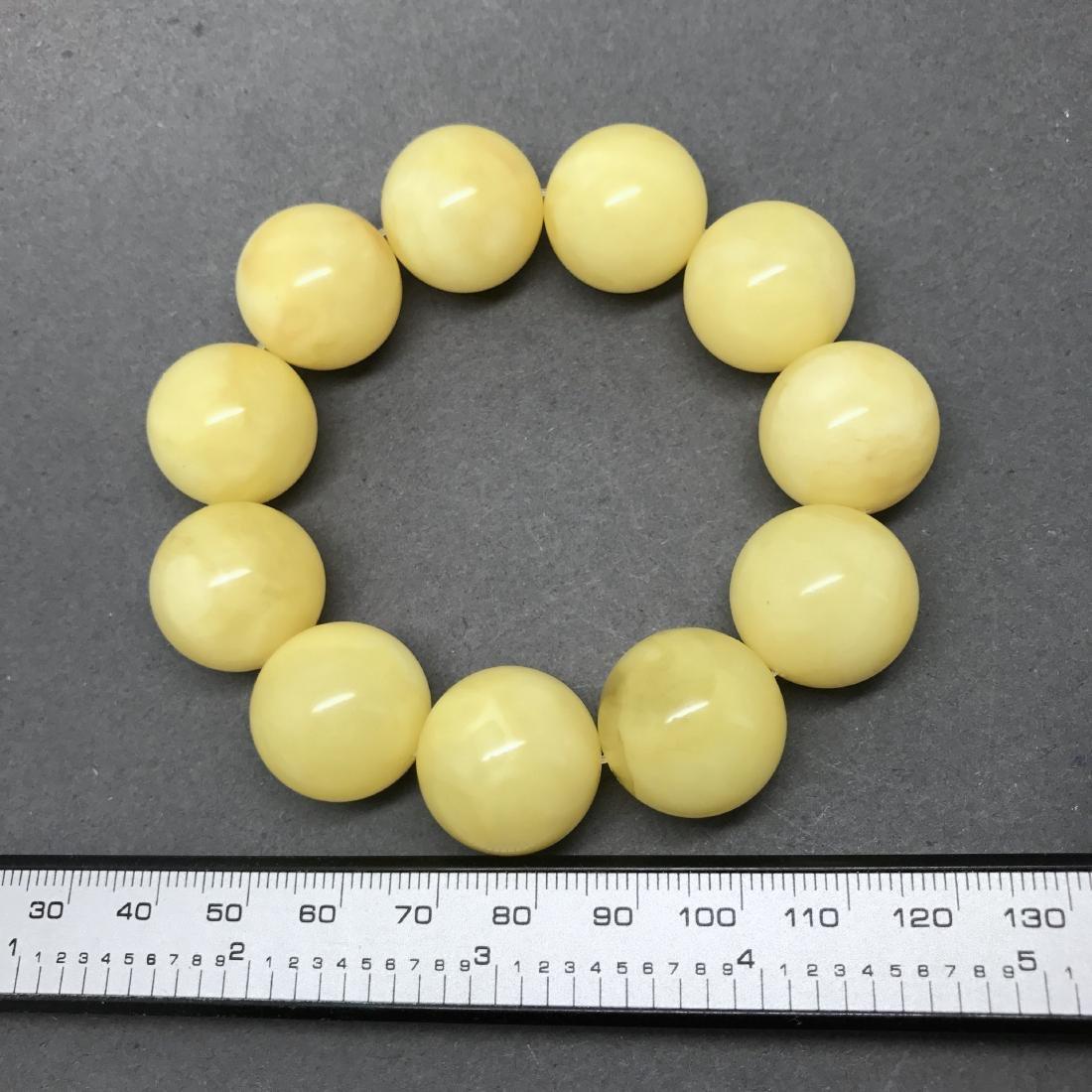 Baltic Amber Bracelet Yellow Butter Colour Big Beads - 4