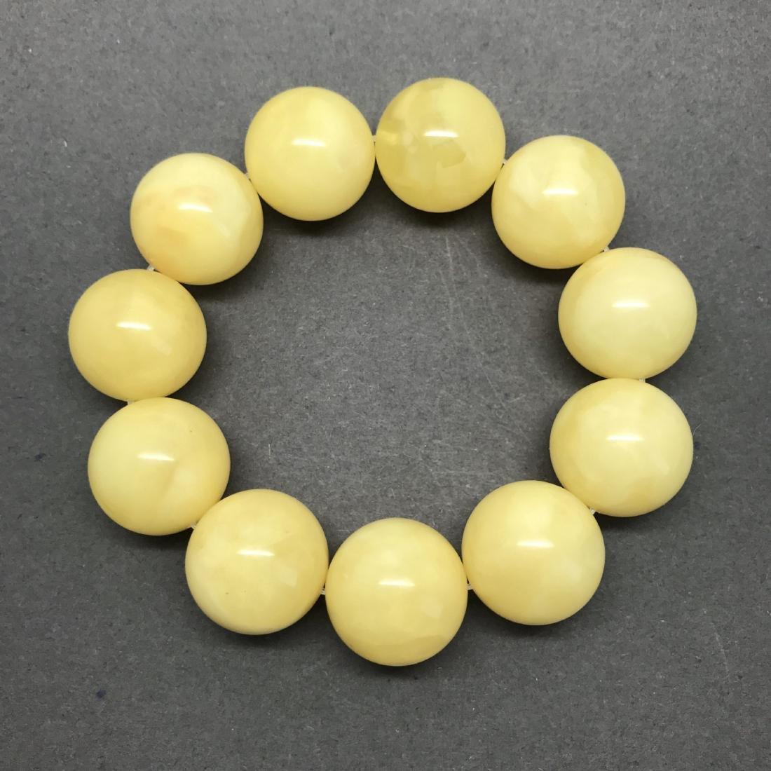 Baltic Amber Bracelet Yellow Butter Colour Big Beads - 6