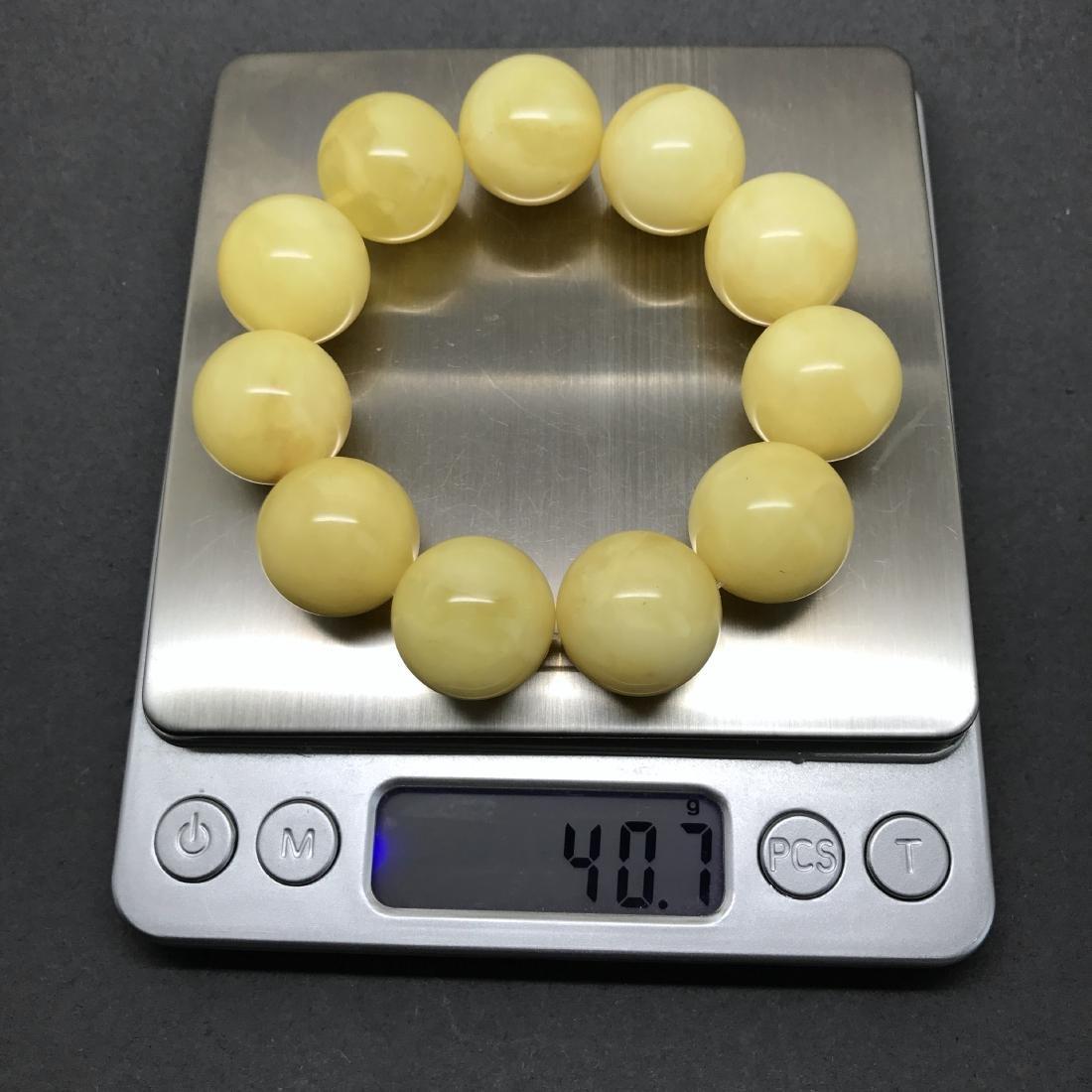 Baltic Amber Bracelet Yellow Butter Colour Big Beads - 7