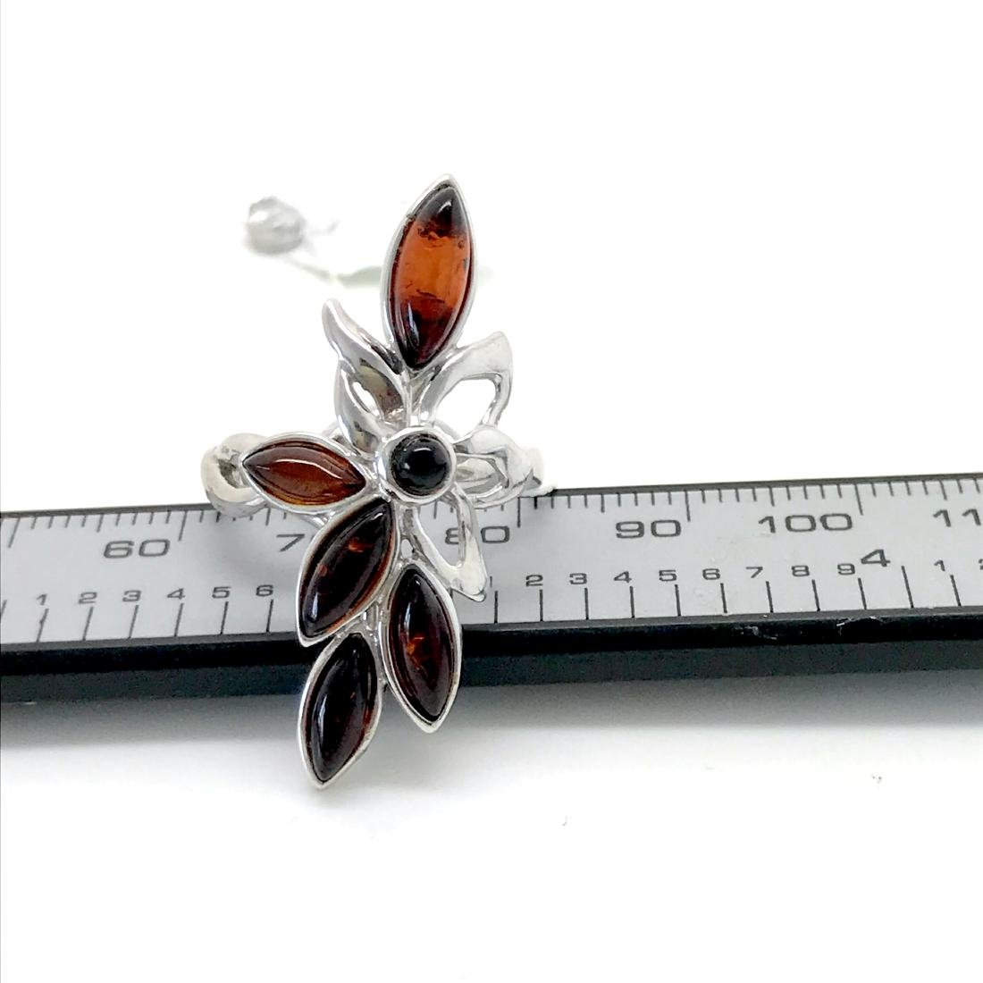 Vintage sterling silver Baltic amber ring never worn