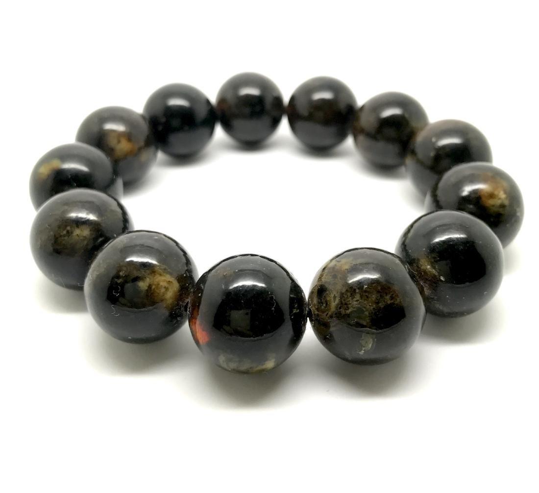 Baltic Amber Bracelet Dark Marble Colour