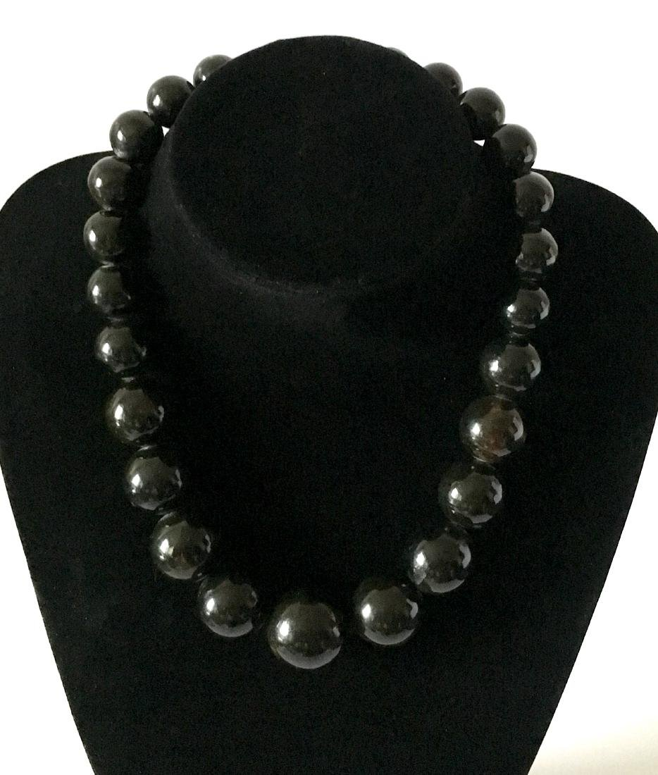 Baltic Amber Necklace Black Marble Colour