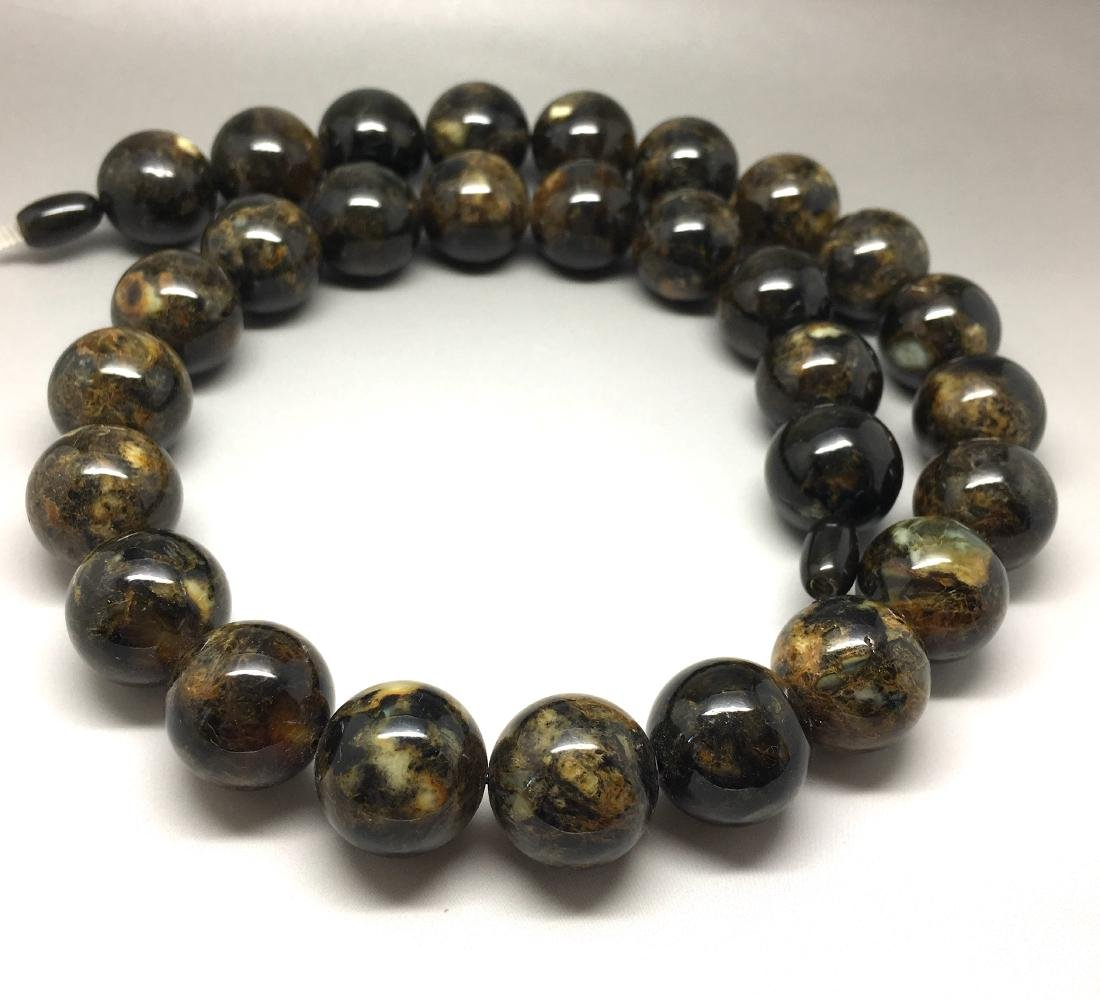 Baltic Amber Necklace Dark Marble Colour