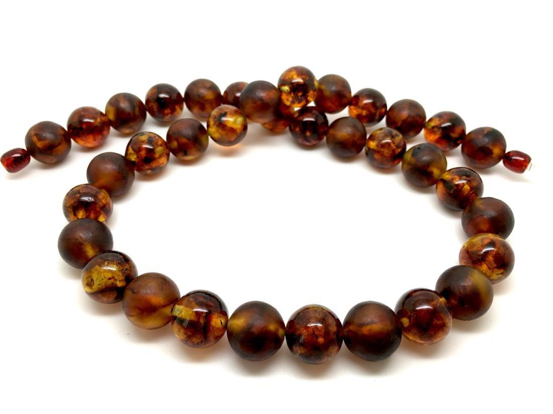 Baltic Amber Necklace Cognac Colour Mat/Transparent