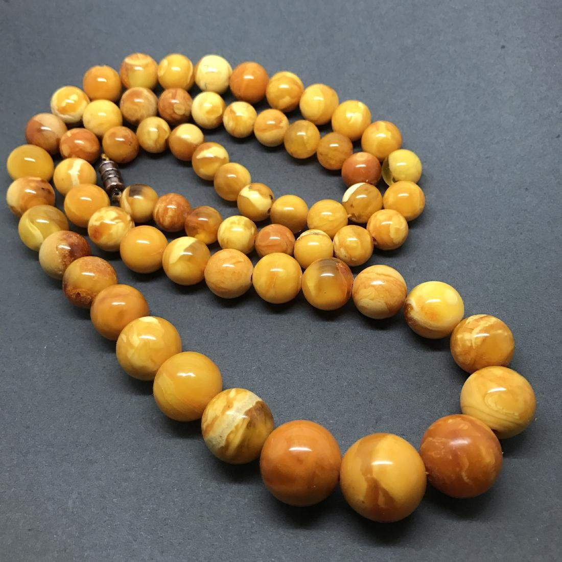 Antique Baltic Amber Necklace Egg Yolk&Yellow-White