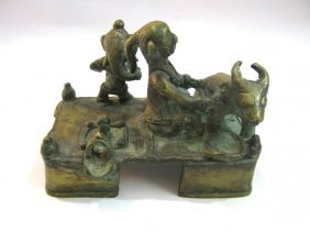 ANTIQUE  BRONZE SHIVA FAMILY STATUE