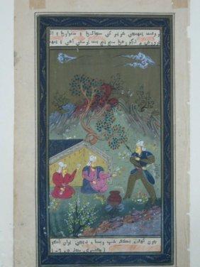 INDIAN MINIATURE PAINTING , MUGHAL KING CAMP