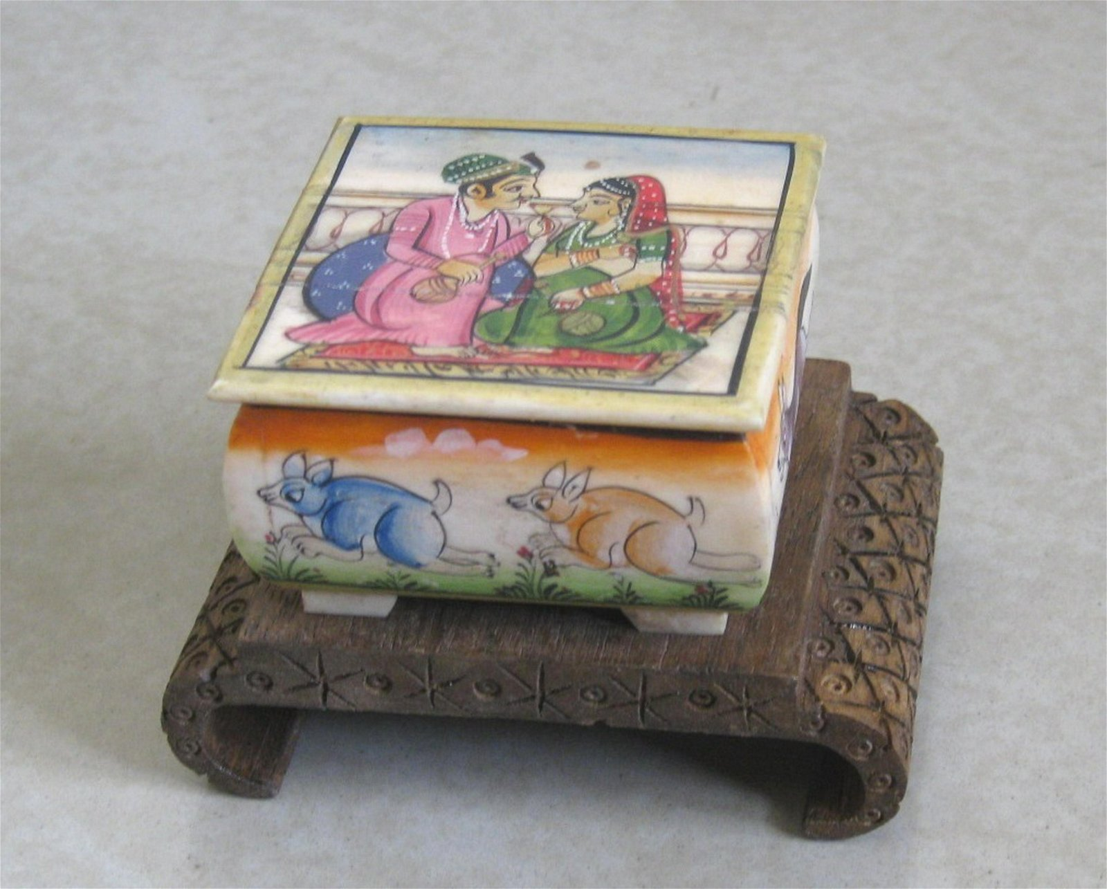 Indian Bone Jewelry Box Painting On Top