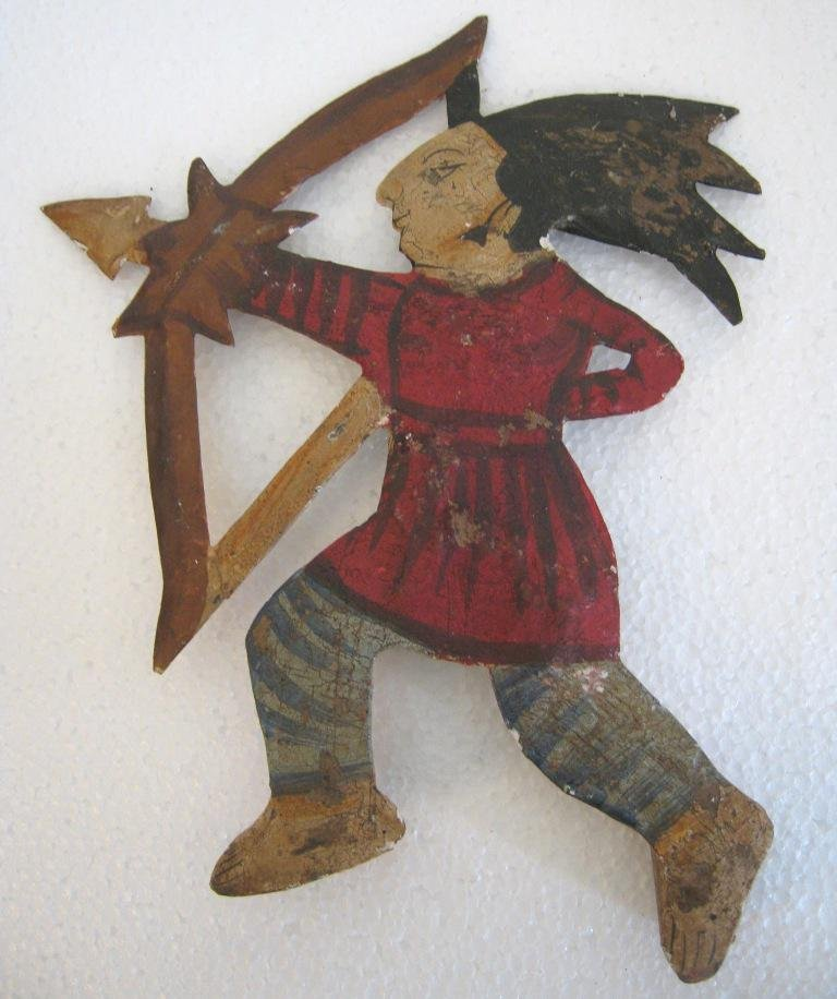 Iron Indian chief weather vane with bow and arrow