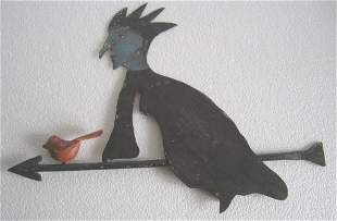 Halloween witch on broom weathervane with bird , iron