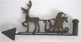 Iron Santa claus and reindeer weathervane