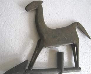 Riveted horse weather vane , iron