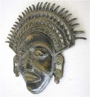 Bronze tribal mask