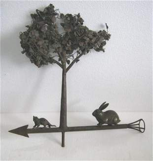 Copper tree weather vane , bronze cat and rabbit