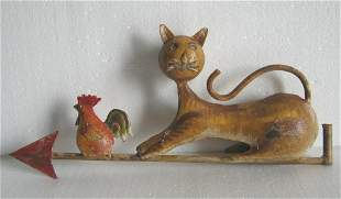 Iron cat and rooster weather vane