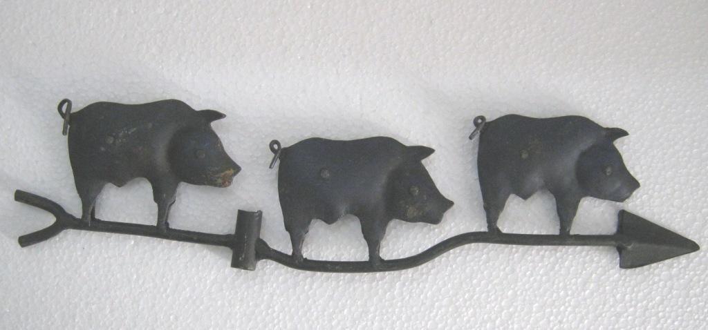 Iron three pigs weather vane