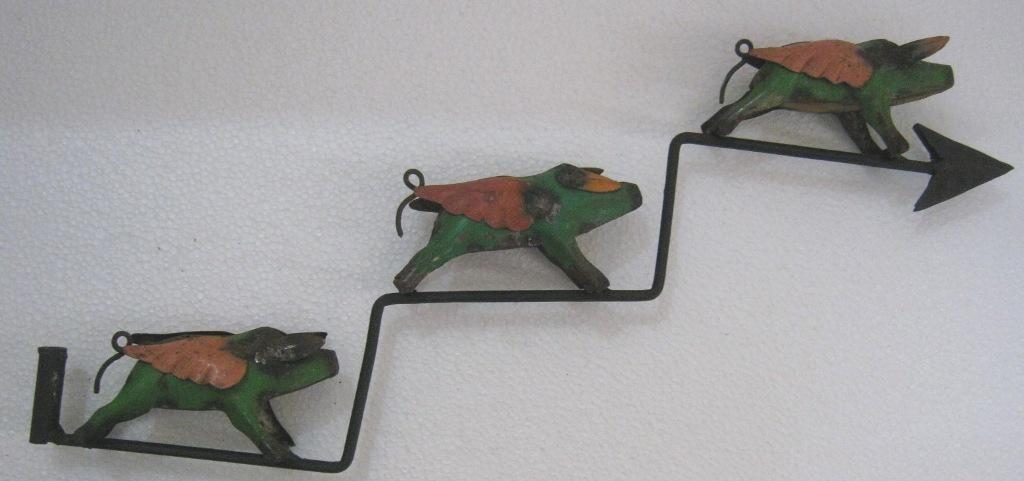 Iron three flying pigs weathervane