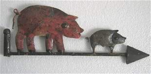 Iron two Pigs weathervane