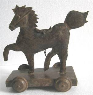 Iron pull toy horse