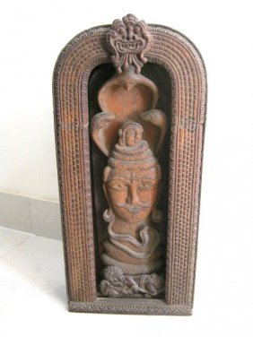 ANTIQUE OLD WOODEN CARVED SHIVA , INDIAN