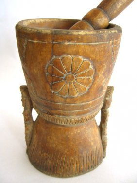 WOODEN MORTAR  AND PESTLE WITH CARVING