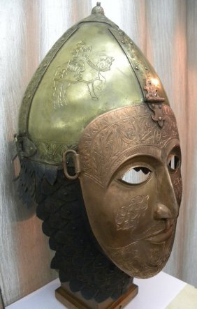 HELMET WITH FACE MASK . BRASS , IRON AND COPPER