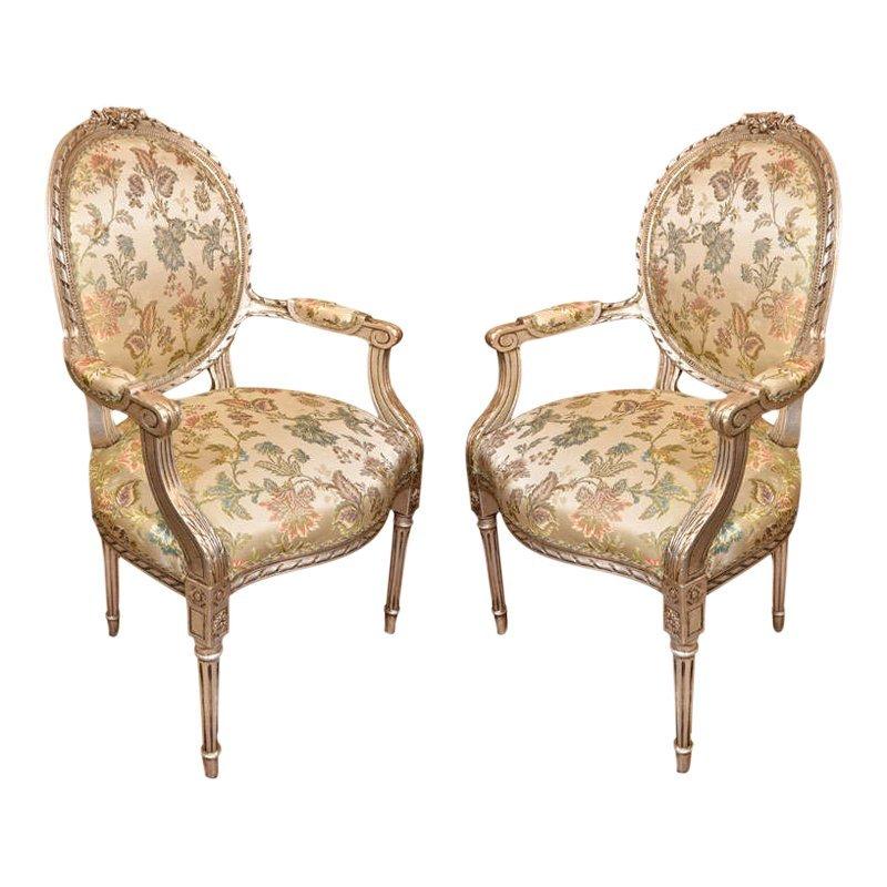 of 19th century silver gilt Louis XVI chairs