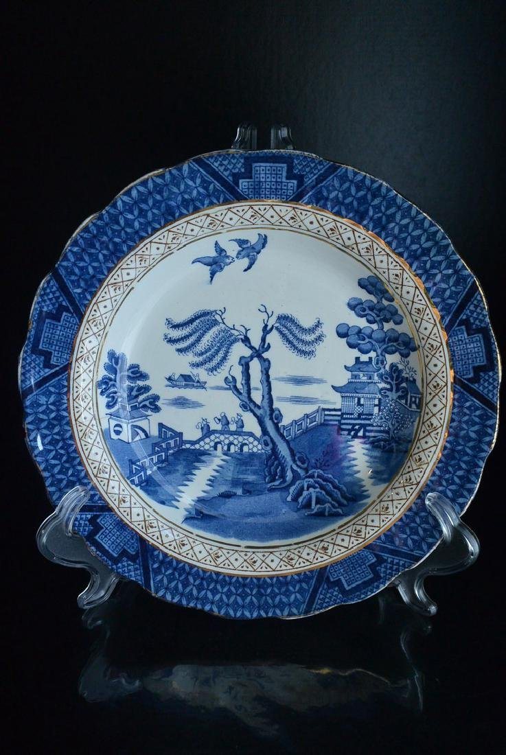 Qing Dynasty England blue and white gold landscape deco