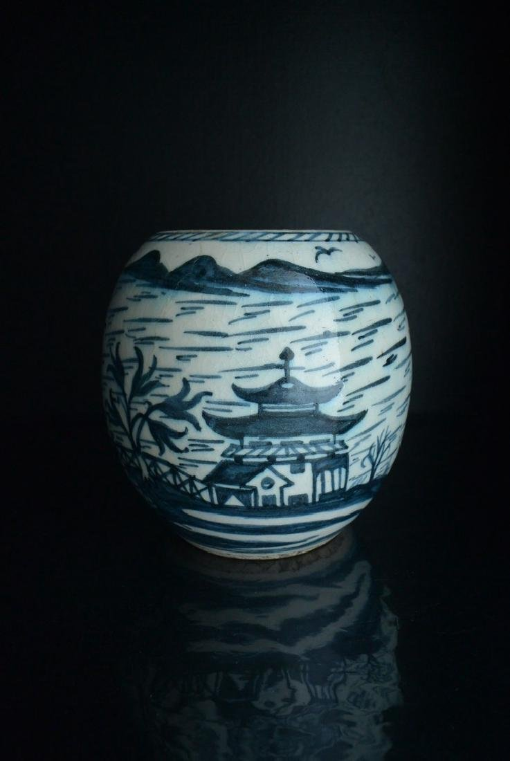 A Finely Chinese Blue and White Vase Height 17.5cm