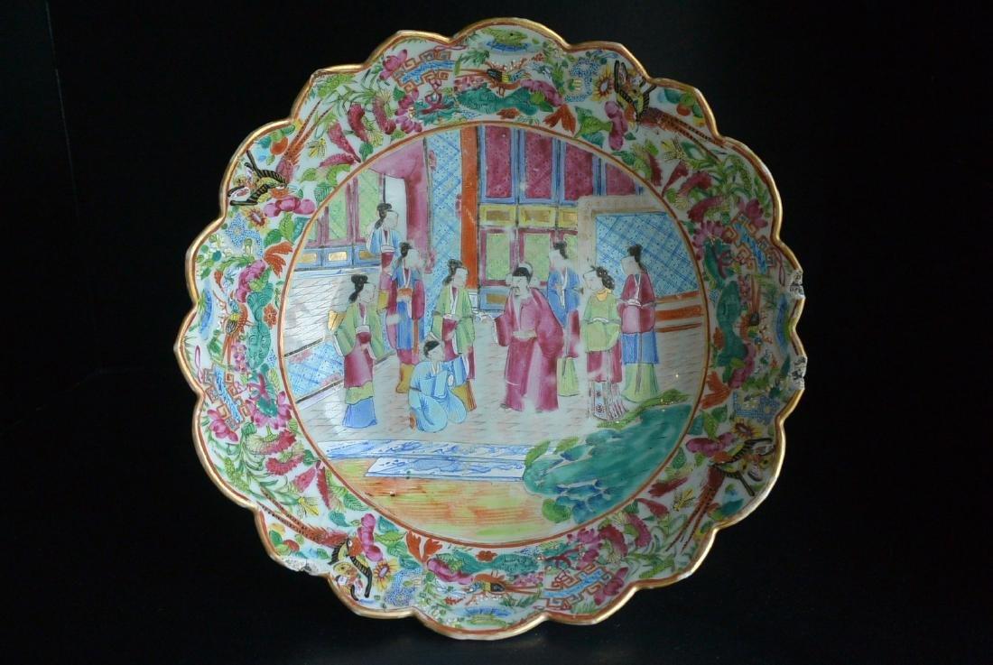 Qing Guangcai open court figures flower port plate