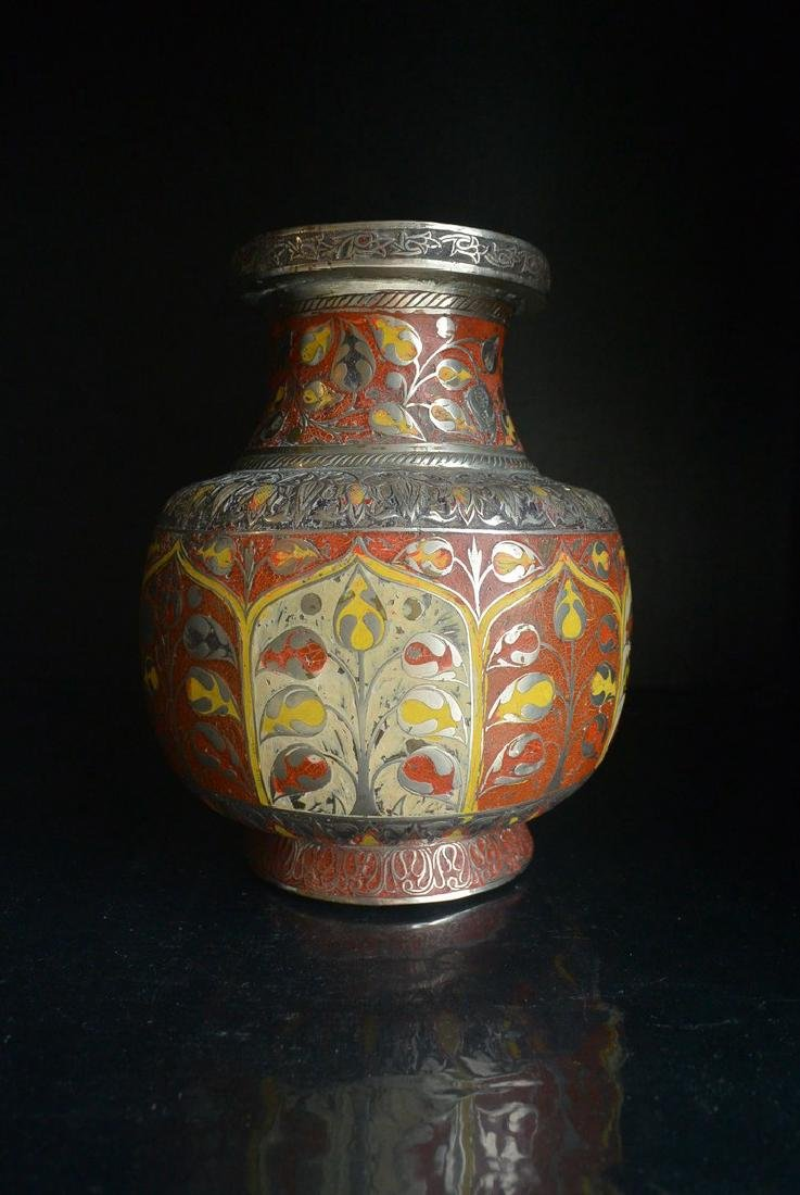 18-19Th. Century copper tire enamel flowers Decorative