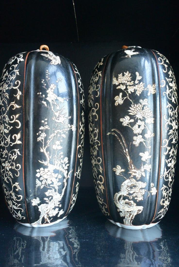 PAIR OF FINELY CHINESE PORCELAIN JARS WITH LID. H:37.2 - 3