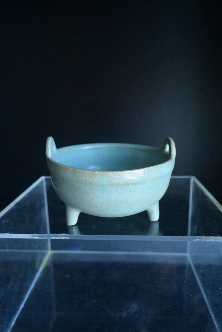 A Rare Chinese North-Song Dynasty Ru Ware Kiln Tripod D
