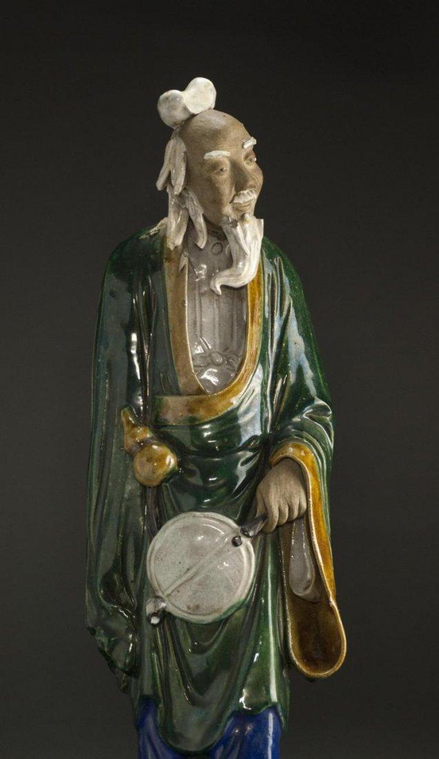 A Qing Dynasty ShiWanYao Porcelain Statue - 4