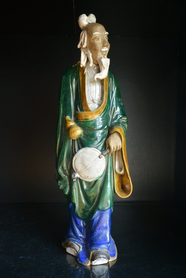 A Qing Dynasty ShiWanYao Porcelain Statue - 7
