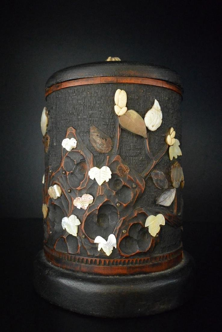 A Carved Bamboo Mother-of-Pearl Inlay Work Tea Chest