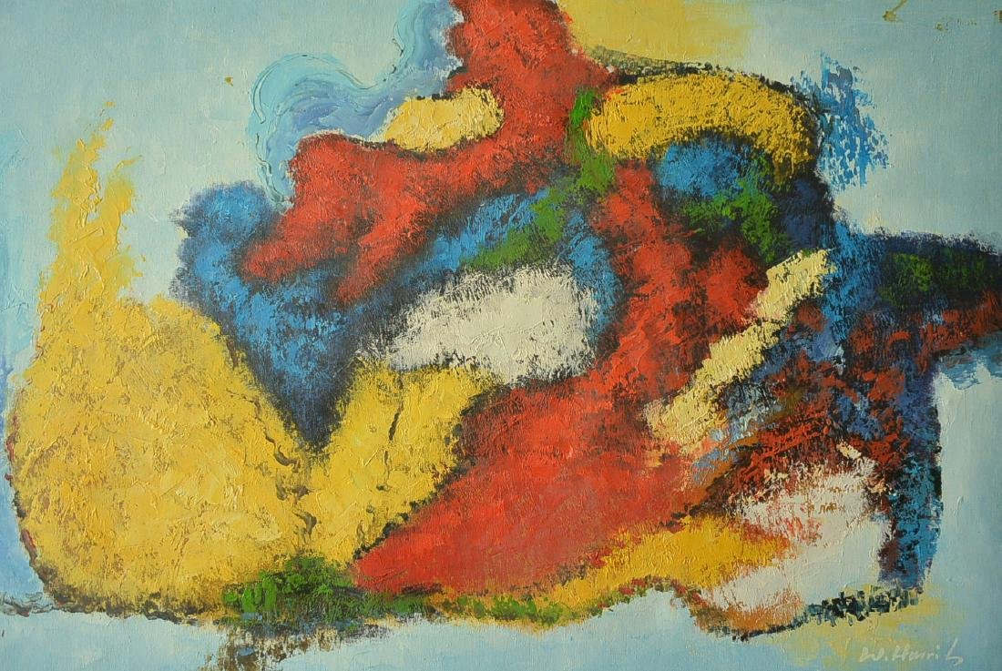 Oil painter W. Hurris abstractionist school Oil painti