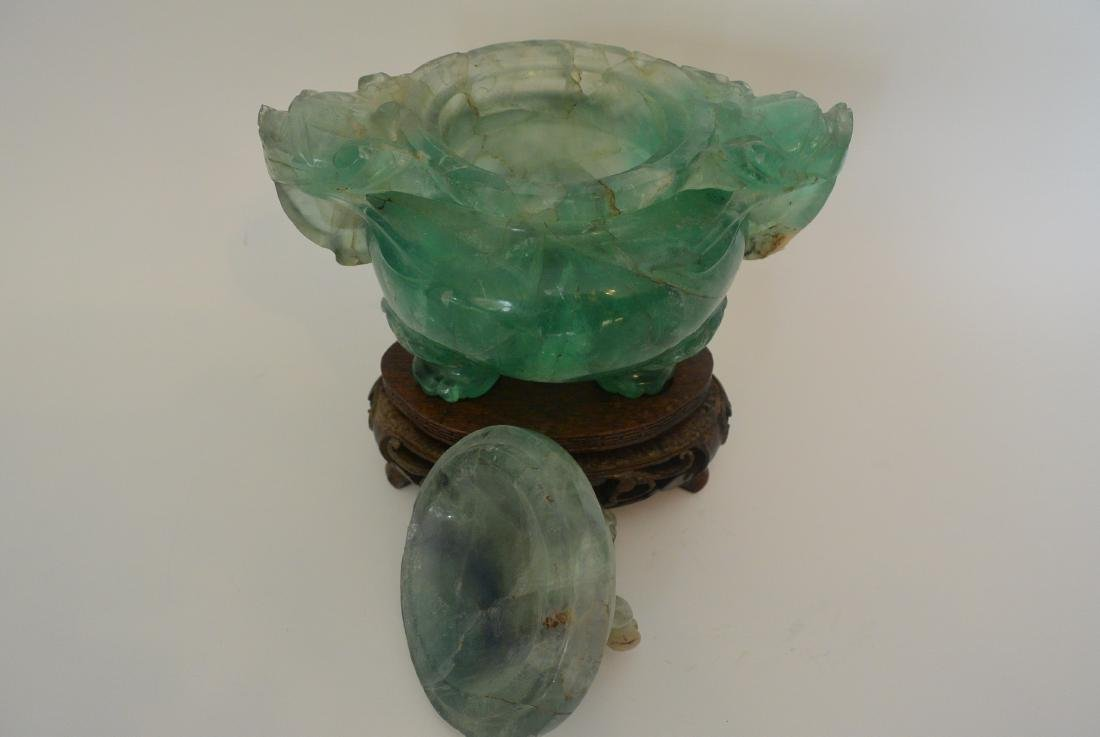Qing Dynasty water green crystal stone lion ear incense - 10