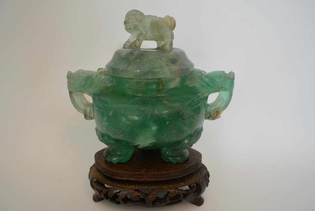 Qing Dynasty water green crystal stone lion ear incense