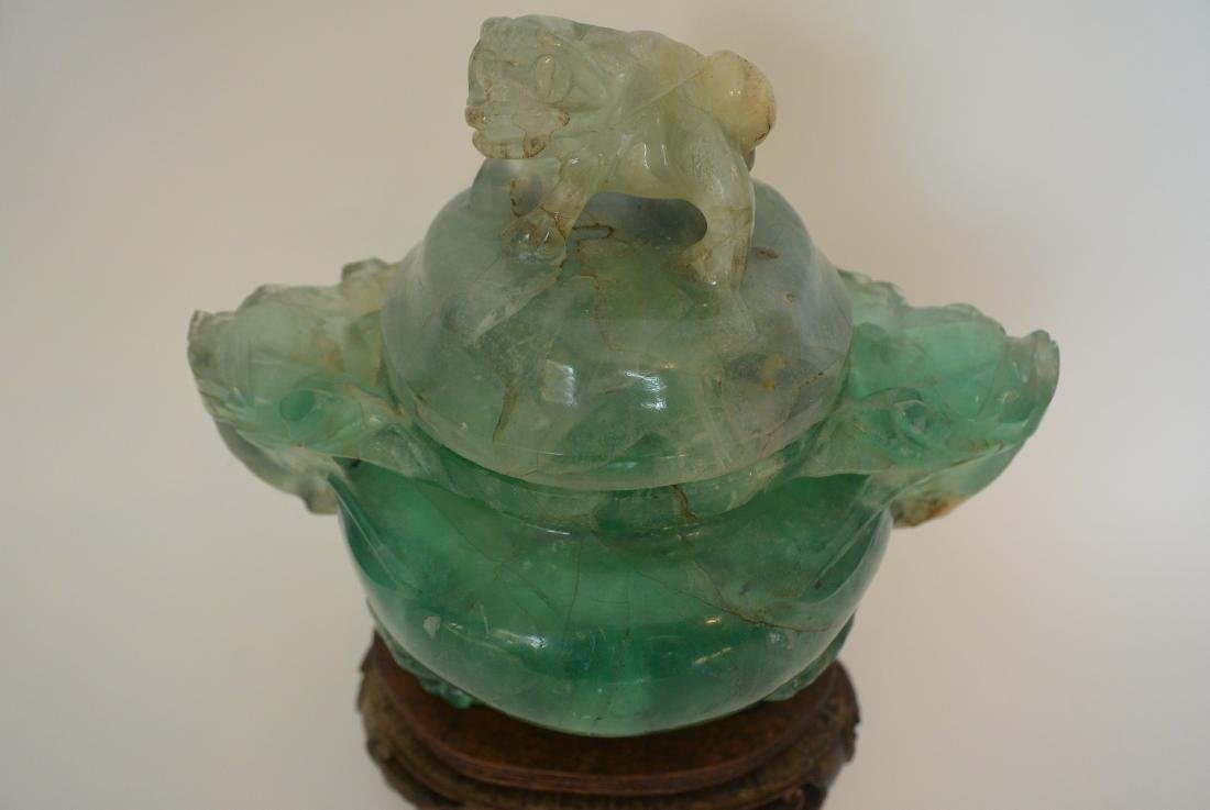 Qing Dynasty water green crystal stone lion ear incense - 2