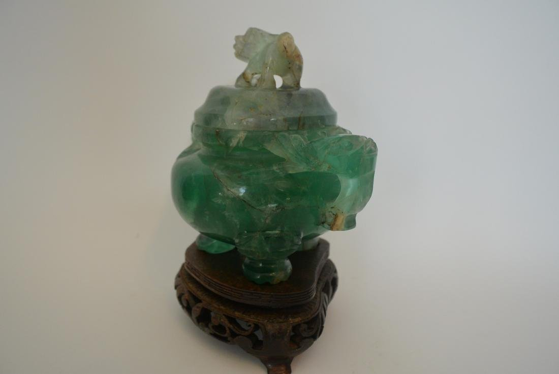 Qing Dynasty water green crystal stone lion ear incense - 4