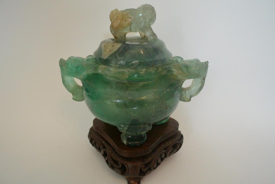 Qing Dynasty water green crystal stone lion ear incense - 6