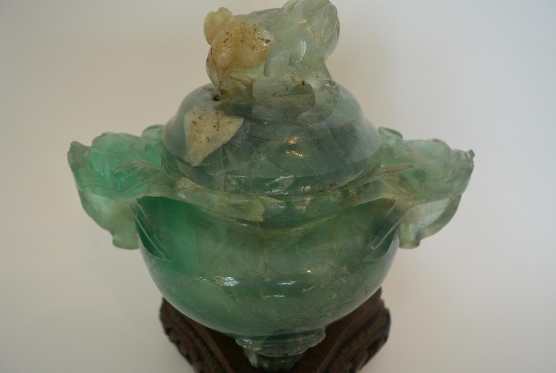 Qing Dynasty water green crystal stone lion ear incense - 7