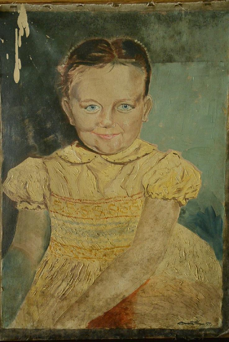 Vintage European-American Oil Painting, Girl, Oil on