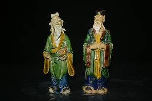 Pair of Chinese Porcelain Mudmen Figures