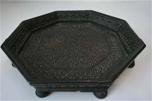 Antique boxwood carved plate