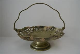 Flower basket of antique engraved bronze ware