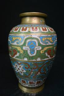 Antique Chinese copper tire Wire inlay Enamel vase